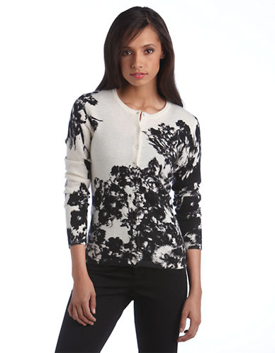 Lord & Taylor Plus Cashmere Shadow Garden Print Cardigan