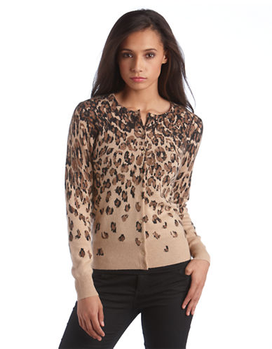 Lord & Taylor Plus Cashmere Leopard Print Cardigan