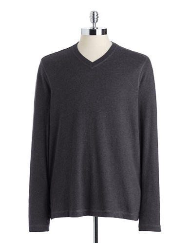 BLACK BROWN 1826Brushed Cotton V-Neck T-Shirt