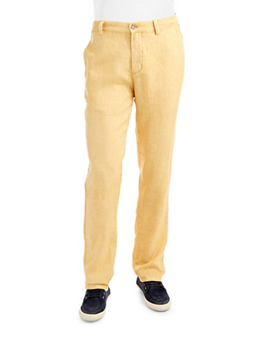 BLACK BROWN 1826Straight Legged Linen Pants