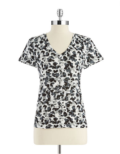 LORD & TAYLOR Petite V-Neck Patterned Tee