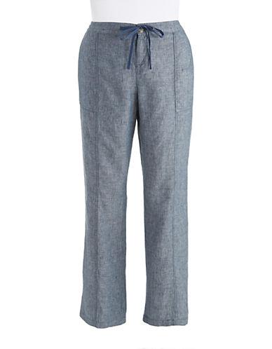 LORD & TAYLORChambray Linen Pants with Drawstring Waist