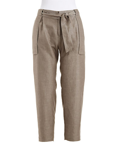 424 FIFTHPetite Cropped Linen Ankle Pants