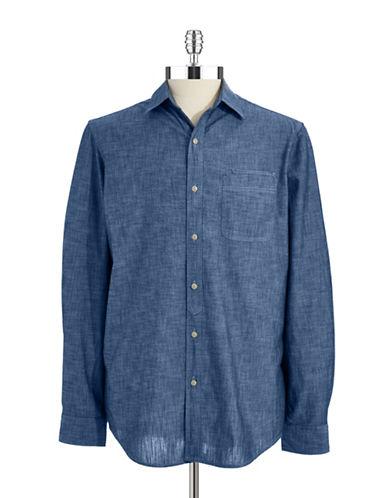 BLACK BROWN 1826Chambray Cotton Sport Shirt