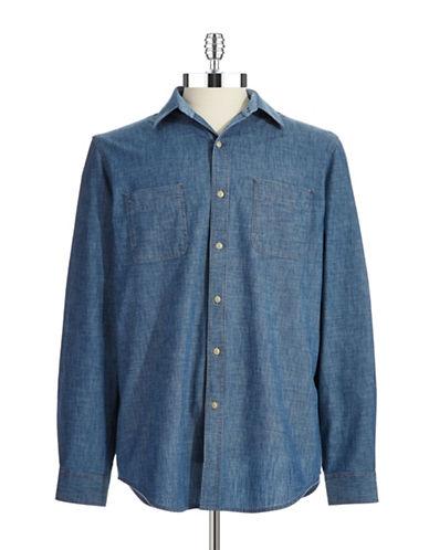 BLACK BROWN 1826Casual Cotton Chambray Button Shirt