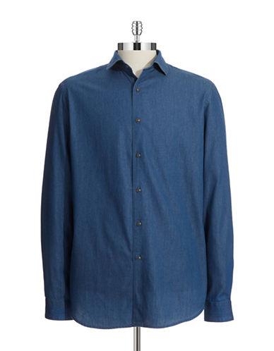 BLACK BROWN 1826Cotton Chambray Sports Shirt