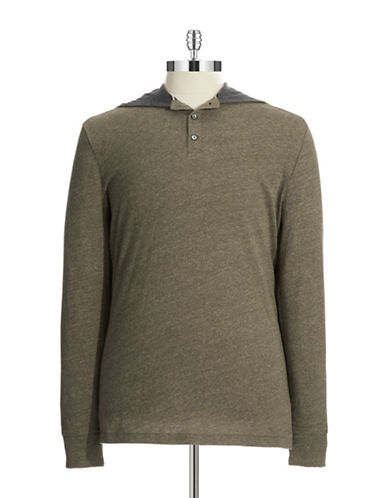 BLACK BROWN 1826Cotton Hooded Henley Knit Shirt