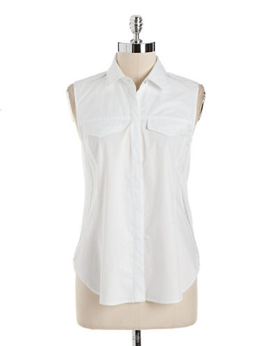 KENNETH COLE NEW YORKCotton Shirt With Chiffon Overlay