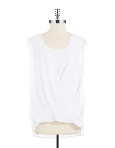 KENNETH COLE NEW YORK Knit Drape Front Blouse