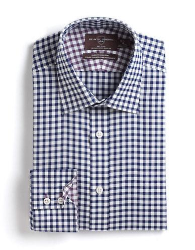 BLACK BROWN 1826Slim Fit Checked Cotton Dress Shirt