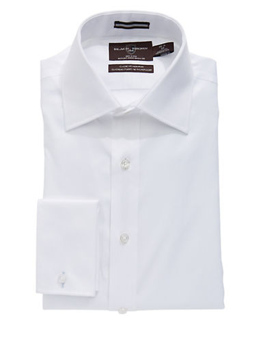 BLACK BROWN 1826Regular Fit Solid French Cuff Dress Shirt