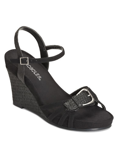 AEROSOLES Plush Around Wedge Sandals with Buckle Accent