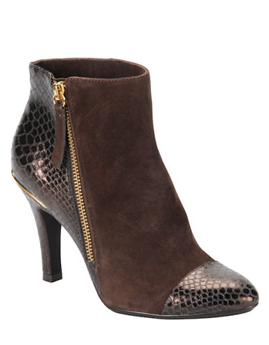 SOFFTMakayla Suede and Embossed Patent Leather Booties