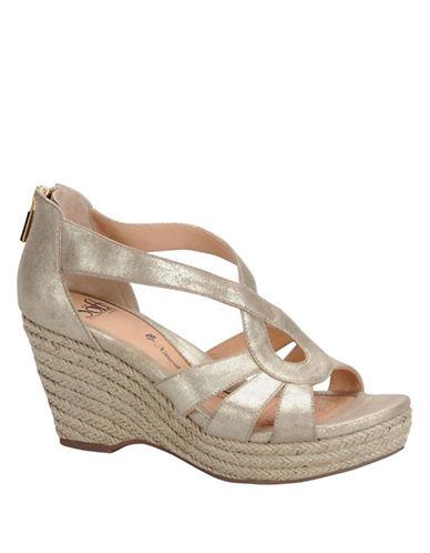 SOFFTMena Metallic Suede Wedge Sandals