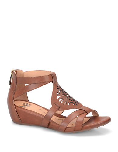 SOFFT Breeze Brown Leather Wedge Sandals