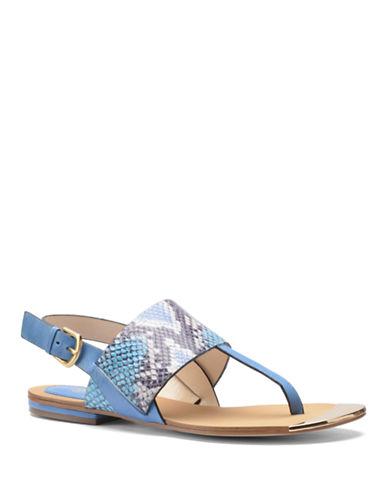 ISOLAPresta Snake-Print Leather Thong Sandals
