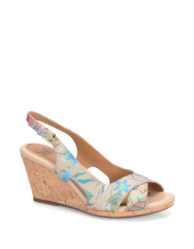 Buy Cailean Floral-Print Leather Wedge Sandals by Sofft online