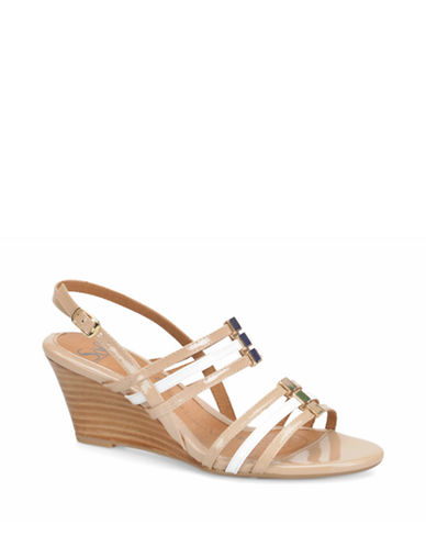 Buy Posh Two-Tone Patent Leather Wedge Sandals by Sofft online