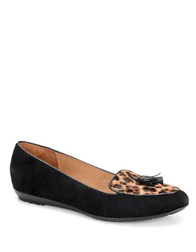 SOFFT Bryce Leopard-Print Calf Hair and Suede Smoking Flats