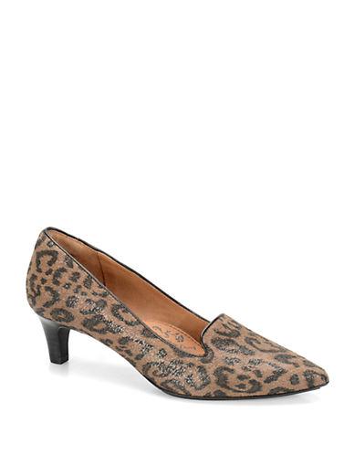 SOFFTVesper Leopard-Print Suede Point Toe Loafer Pumps