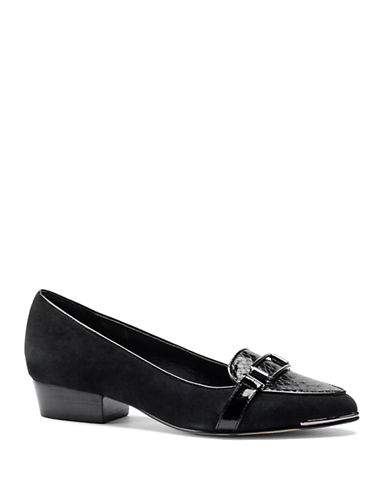 Buy Suede and Snake-Embossed Leather Point Toe Loafers by Isola online