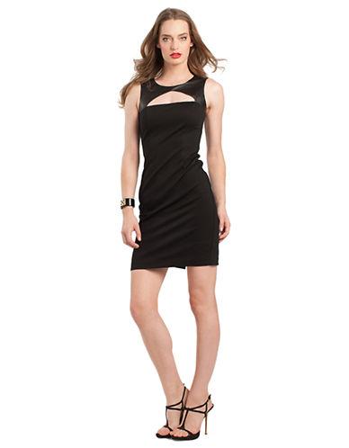 TRINA TURKSleeveless Sheath Dress with Leather