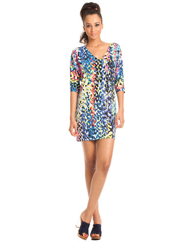 Shop Trina Turk online and buy Trina Turk Abstract Printed Shirt Dress dress online