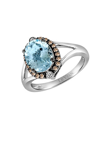 LEVIAN 14K White Gold Aqua Ring with Vanilla and Chocolate Diamonds