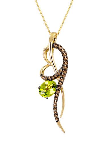 LEVIAN14Kt. Yellow Gold Peridot and Brown Diamond Pendant Necklace