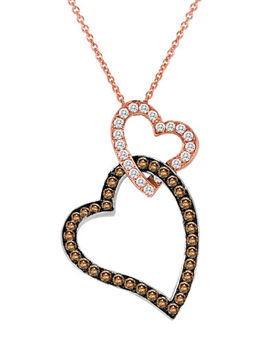 LEVIAN 14Kt. Rose and White Gold Brown and White Diamond Heart Pendant Necklace