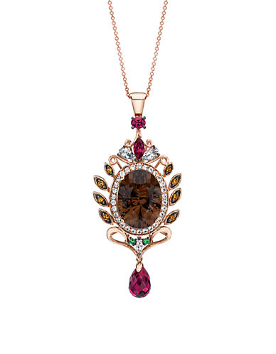 LEVIAN14Kt. Strawberry Gold Necklace with Smoky Quartz and Multi Stone Pendant