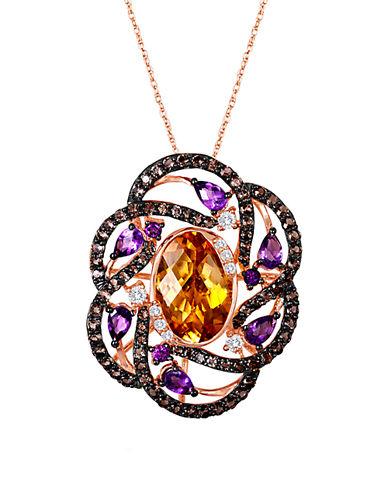 LEVIAN14K Strawberry Gold Multi Semiprecious Stone Flower Pendant