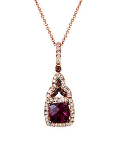 LEVIAN14K Strawberry Gold Rhodolite Diamond Pendant