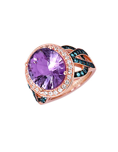 LEVIAN 14 Kt. Strawberry Gold Pink Amethyst and Blue Topaz Ring