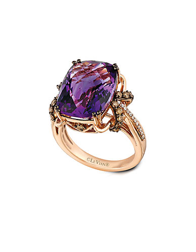LEVIAN14Kt Rose Gold Amethyst and Diamond Ring