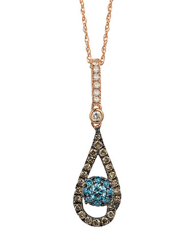 LEVIAN 14Kt Rose Gold and Blue Diamond Pendant Necklace