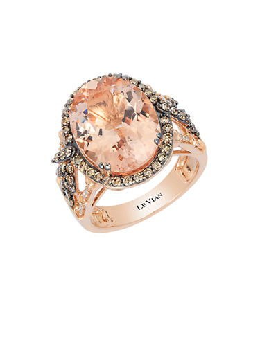 LEVIAN14K Strawberry Gold Peach Morganite and Diamonds Ring