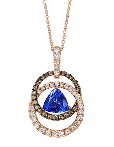 LEVIAN14K Strawberry Gold Blueberry Tanzanite Pendant with Chocolate and Vanilla Diamonds