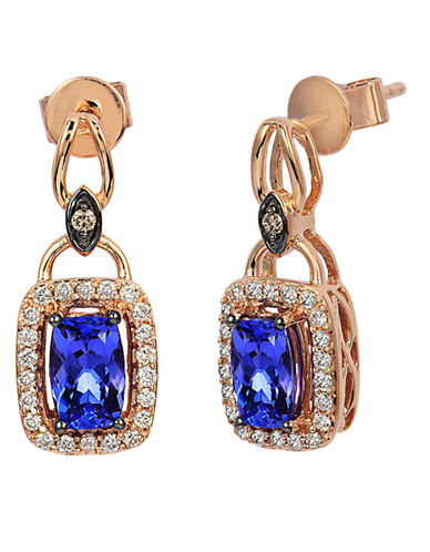 LEVIAN 14K Strawberry Gold Blueberry Tanzanite Earrings with Chocolate and Vanilla Diamonds