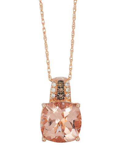 LEVIAN14K Strawberry Gold Peach Morganite and Diamond Pendant