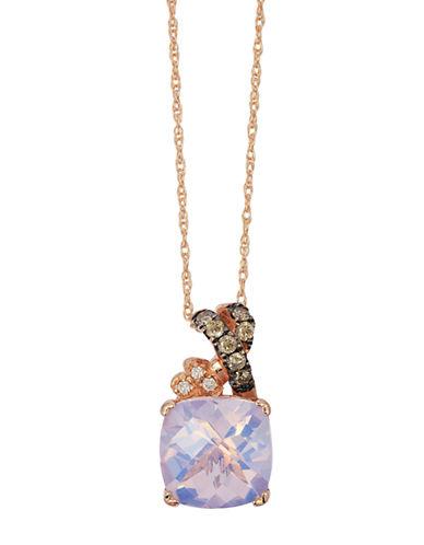 LEVIAN14K Strawberry Gold Lavender Quartz and Diamond Pendant
