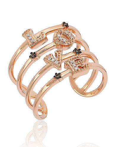LEVIAN 14K Rose Gold Chocolate-and-Vanilla Diamond Love Ring