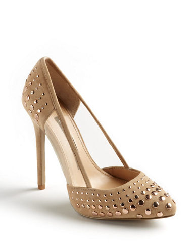 FRENCH CONNECTION Calista Suede and Mesh Studded Pumps