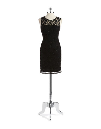 ADRIANNA PAPELL Embellished Lace Illusion Dress