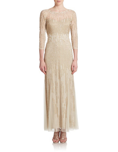 Three Quarter Sleeve Beaded Gown $520.00 AT vintagedancer.com