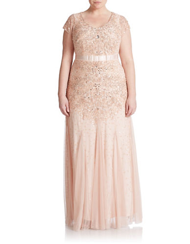Plus Embellished Cap-Sleeve Gown $167.47 AT vintagedancer.com