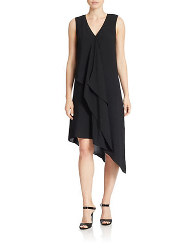 ADRIANNA PAPELL Asymmetrical Front-Drape Dress