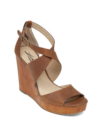 LUCKY BRAND Lyndell Leather Wedge Sandals