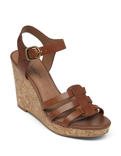 Lucky Brand Willows Leather Open-Toe Wedge Sandals