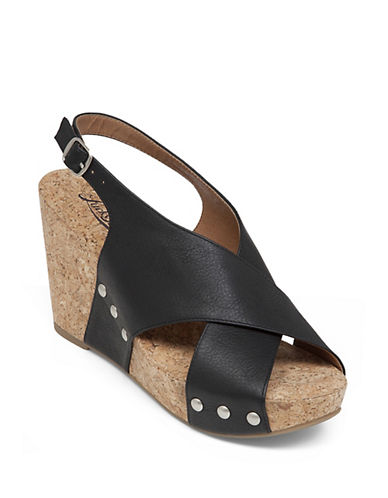 Lucky Brand Minari Leather Open-Toe Wedge Sandals